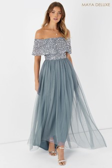 Maya Blue Embellished Bardot Midaxi Dress