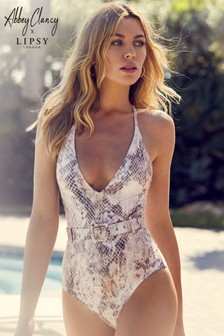 7400c9155bf00 Abbey Clancy x Lipsy Snake Print Belted Swimsuit