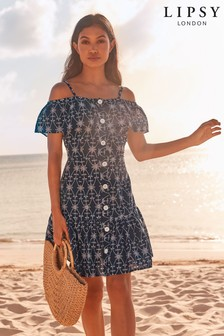 5e7b92469f8 Lipsy Embroidered Button Dress
