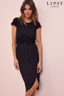Lipsy Black Wrap Self Tie Midi Dress