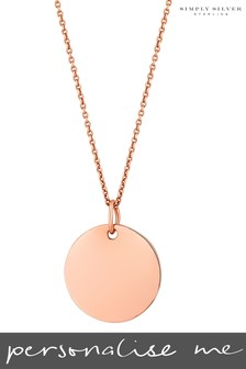 Personalise 14ct Rose Gold Plated Silver Engravable Disc Pendant by Simply Silver