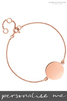 Personalised 14ct Rose Gold Plated Engravable Disc Bracelet by Simply Silver