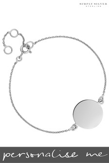 Personalised Sterling Silver Engravable Disc Bracelet by Simply Silver