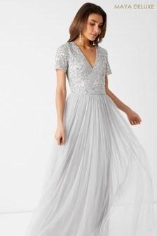 Maya Grey V neck Short Sleeve Sequin Maxi Dress