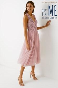 Maya V neck Sleeveless Sequin Midi Dress