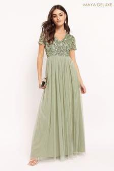 Maya Green Regular V Neck Short Sleeve Sequin Maxi Dress