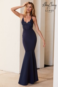 f0157acfd9 Abbey Clancy x Lipsy Appliqué Artwork Fishtail Hem Maxi Dress