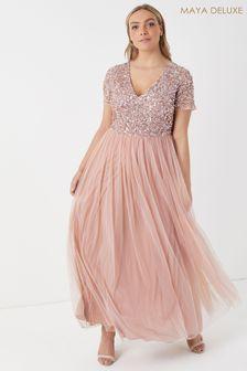 Maya Curve Pink V neck Short Sleeve Sequin Maxi Dress