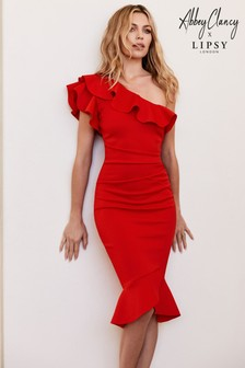 Abbey Clancy x Lipsy Red Ruffle One Shoulder Flippy Hem Bodycon Dress