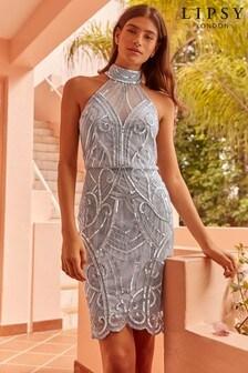 c1f8de0da8e Lipsy Halter Embellished Bodycon Dress
