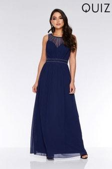 eb2ed2d6660 Quiz Chiffon Embellished High Neck Maxi Dress ...