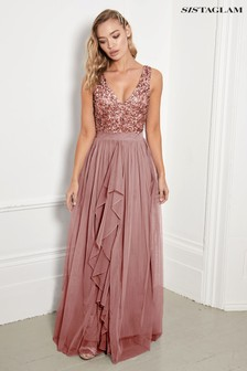 Sistaglam Rose Gold Regular V neck Maxi Dress With Sequin Top
