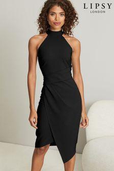 Lipsy Black Halter Neck Asymmetric Bodycon Dress