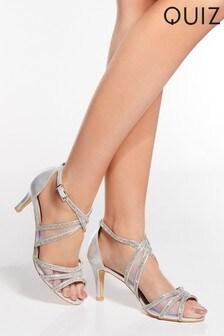 Quiz Silver Diamanté Strappy Low Heel Sandals