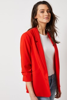 Dorothy Perkins Red Ruched Sleeve Jacket