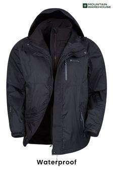 Mountain Warehouse Black Bracken Extreme 3 In 1 Mens Waterproof Jacket