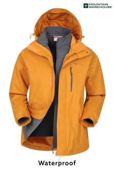 Mountain Warehouse Yellow Bracken Extreme 3 In 1 Mens Waterproof Jacket
