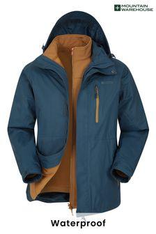 Mountain Warehouse Blue/Tan Bracken Extreme 3 In 1 Mens Waterproof Jacket