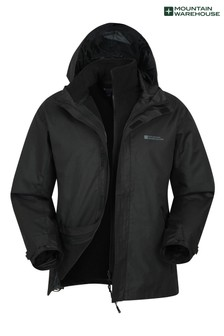 Mountain Warehouse Black Fell Mens 3 In 1 Water Resistant Jacket