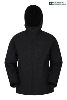 Mountain Warehouse Black and Grey Exodus Mens Showerproof Softshell