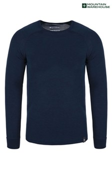 Mountain Warehouse Navy Merino Mens Long Sleeved Round Neck Top