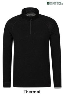 Mountain Warehouse Black Merino Mens Long Sleeved Zip Neck Top
