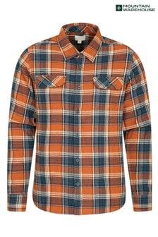 Mountain Warehouse Burnt Orange Trace Mens Flannel Long Sleeve Shirt