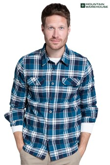 Mountain Warehouse Black and Grey Trace Mens Flannel Long Sleeve Shirt