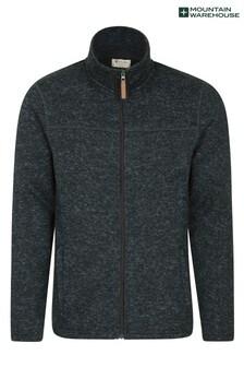 Mountain Warehouse Black and Grey Idris Mens Full Zip Fleece
