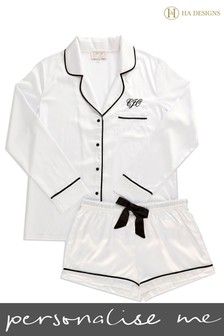 Personalised HA Sleep Satin Luxe Long Sleeve Short Pyjama Set By HA Designs