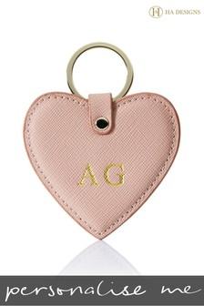 Personalised Saffiano Heart Key Ring By HA Designs