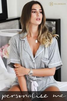 Personalised Jersey Short Sleeve Pyjama Set By HA Designs