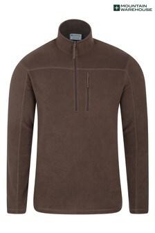 Mountain Warehouse Brown Argyle Mens Half Zip Fleece