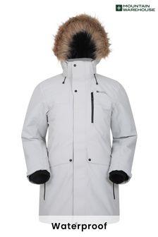 Mountain Warehouse White and Grey Arne Mens Long Padded Jacket