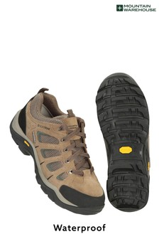 Mountain Warehouse Khaki Field Mens Waterproof Wide-Fit Vibram Shoes