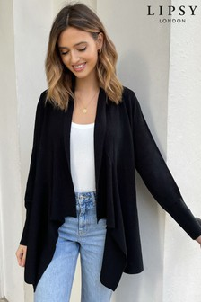Lipsy Black Knitted Waterfall Cardigan