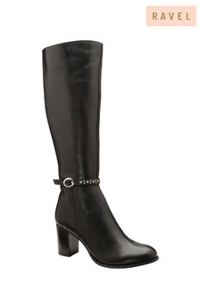 Ravel Black Leather Knee High Boot