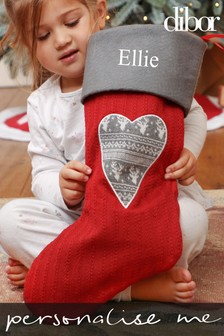 Personalised Red Nordic Heart Christmas Stocking by Dibor