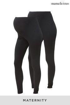 Mamalicious Black Maternity 2 Pack Leggings