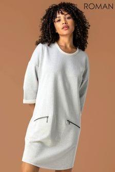 Roman Grey Zip Pocket Detail Jumper Dress