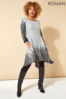 Roman Grey Border Stripe Hanky Hem Swing Dress