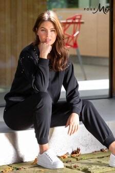 Pour Moi Black Stud Embellished Fleeceback Sweatshirt
