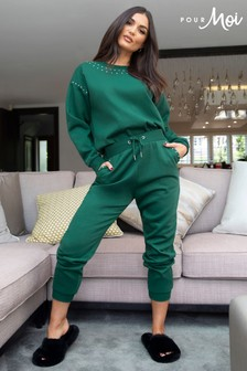 Pour Moi Green Stud Embellished Fleeceback Cuffed Jogger