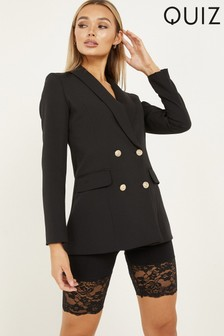 Quiz Gold Button Tailored Blazer