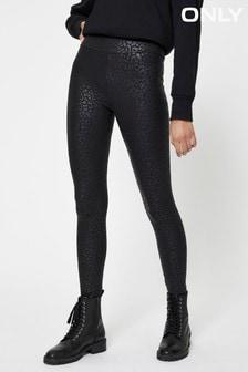 Only Black High Shine Leopard Print Leggings