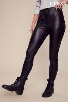 Lipsy Black Faux Leather Ponte Mix Legging