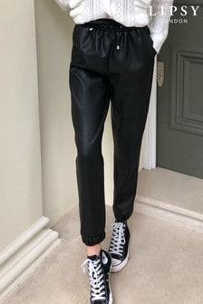 Lipsy Black Faux Leather Cuff Jogger