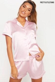 PrettyLittleThing Pink Satin Short Sleeve PJ Set