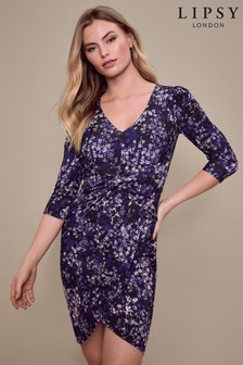 Lipsy Purple Printed Twist Wrap Midi Dress
