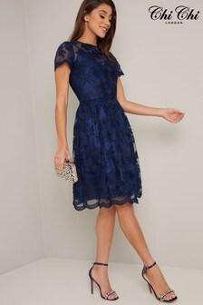 Chi Chi London Navy Shana Midi Embroidered Dress